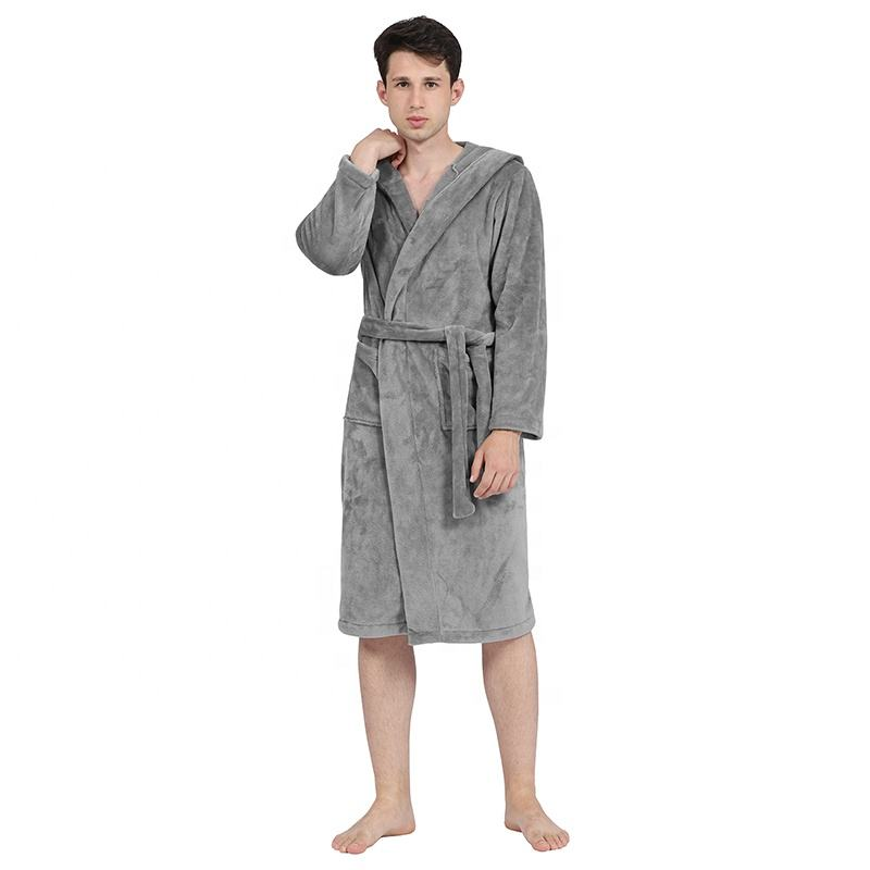 high quality mens hooded bath robe hotel cotton pajama robe set for men