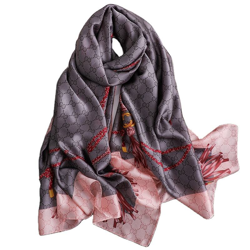Wholesale 2021 hot sale fashion women's designer scarves luxury brand pattern custom long turkish silk scarf