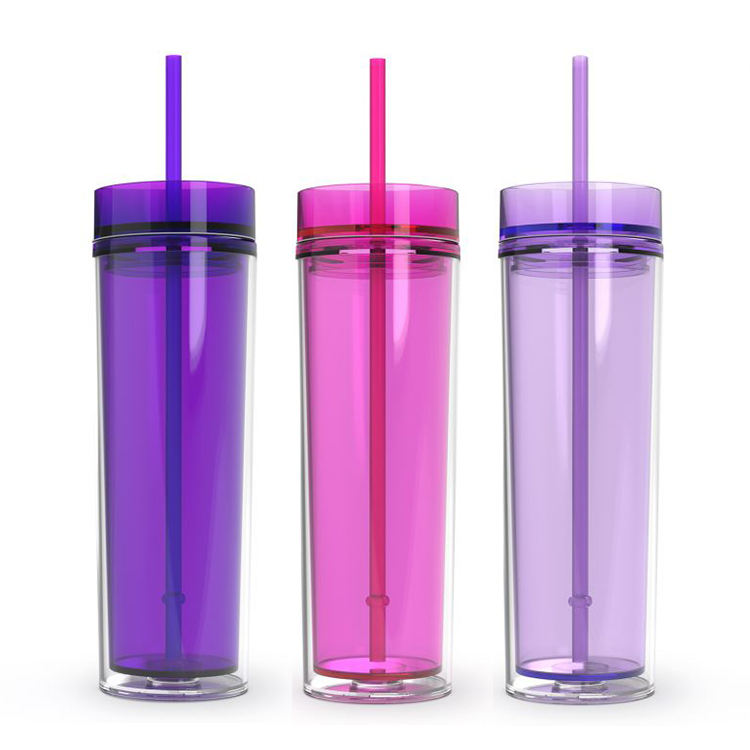 Wholesale Plastic Double Wall Bpa Free Skinny Acrylic Tumblers With Straw