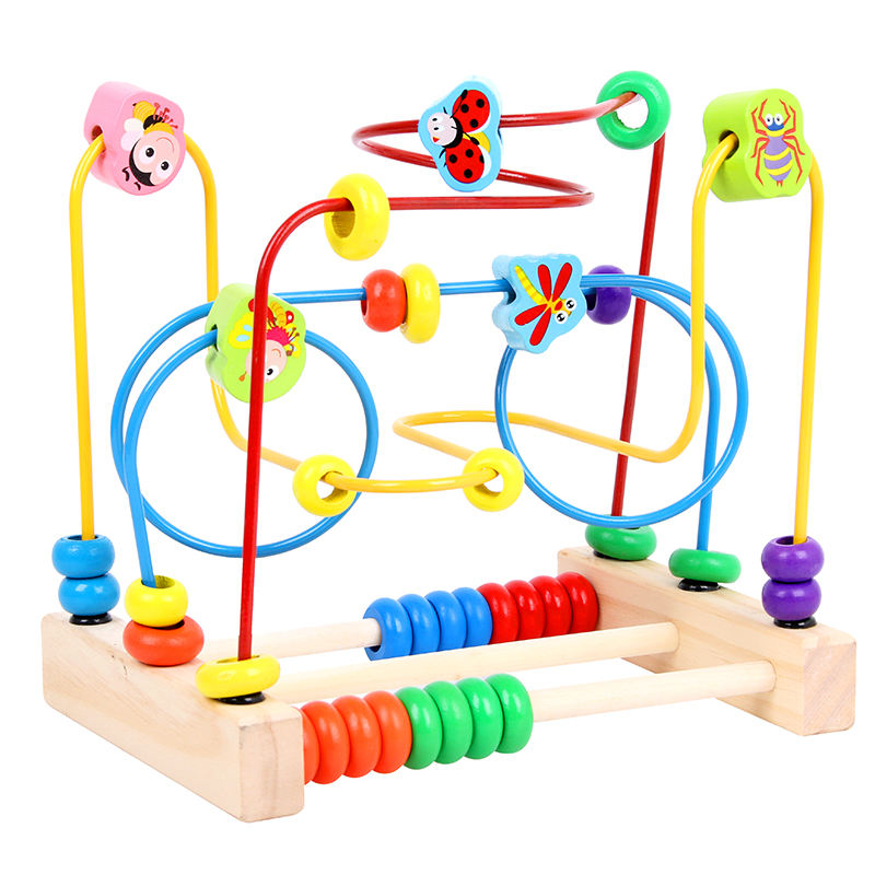 Wooden Fruits Bead Maze Roller Coaster Activity Cube Educational Abacus Beads Circle Toys Gift for Children Toddlers