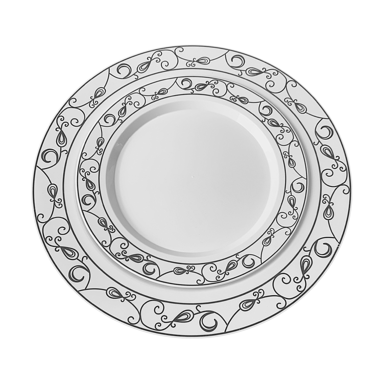 Hot-stamped Heavy-Duty Dispoable Plastic Dinner Plates for Wedding