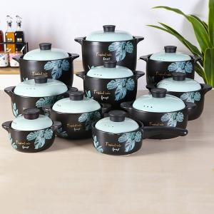 blue sauce pan pots insulated food warmer enamel ceramic casserole with lid