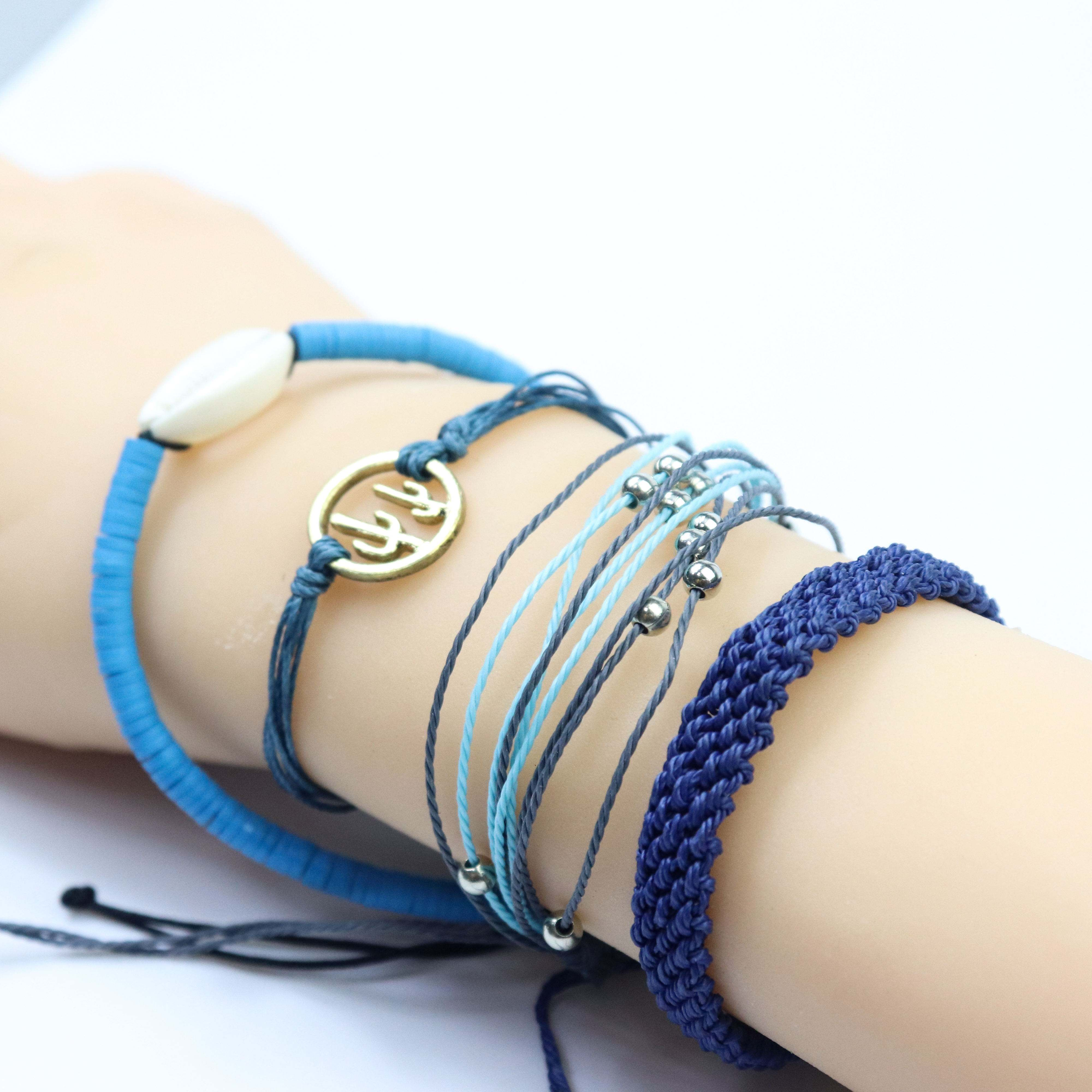 4pcs one set alloy anchor lady shell charm jewelry women handmade braided wax string bracelets