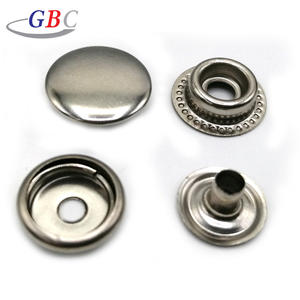 Stainless steel flat top snap button fastener for leather