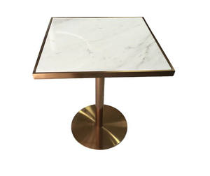 gold stainless steel square granite restaurant table