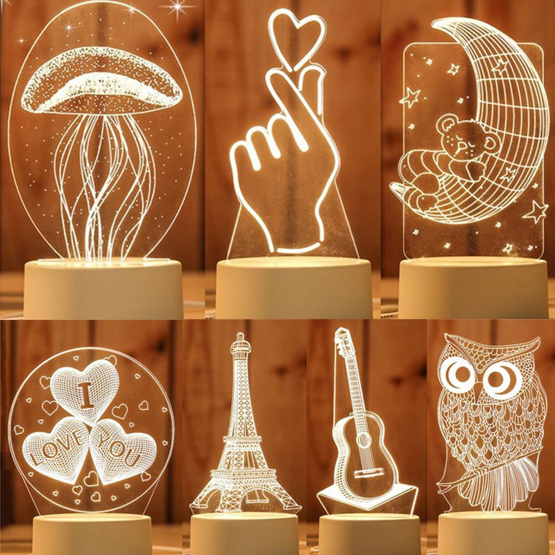 Birthday Gift Kids Bedside 3D Acrylic Night Light Baby Sleeping Light Animal Illuminant Lamp Jellyfish Lamp
