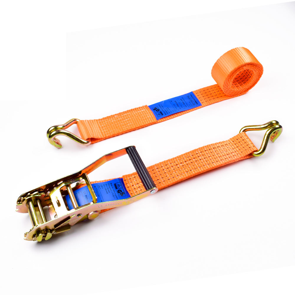 "2"" 5000kgs 50mm Long Plastic Handle Ratchet Buckle Cargo Lashing Straps With 2 Inch Double J Hooks"