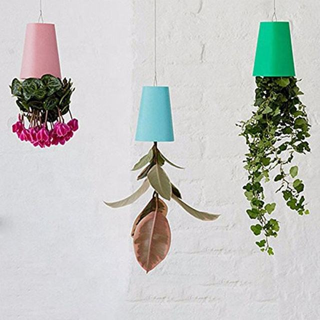Plastic creative upside down sky flower pots for outdoor planters