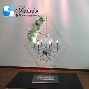 ZT-407A wholesale tall acrylic rhombus stand hang with crystal chandelier for wedding table centerpiece