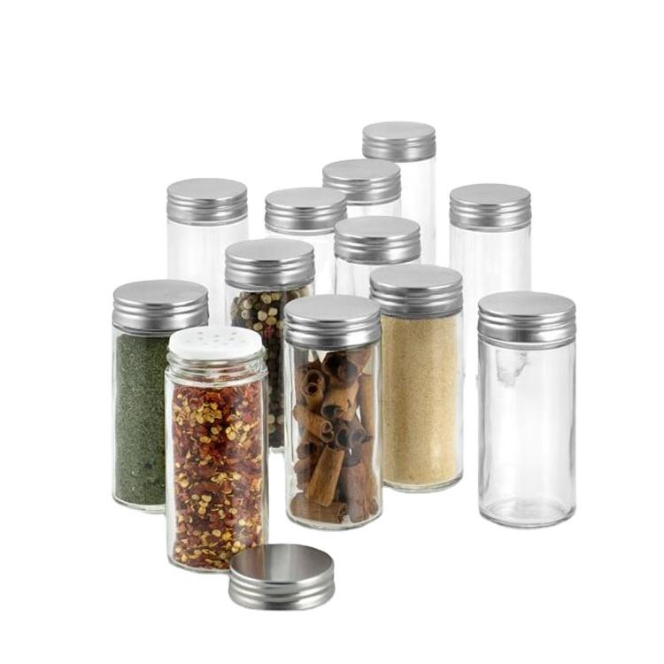 80ml round glass spice jars wholesale with metal lid