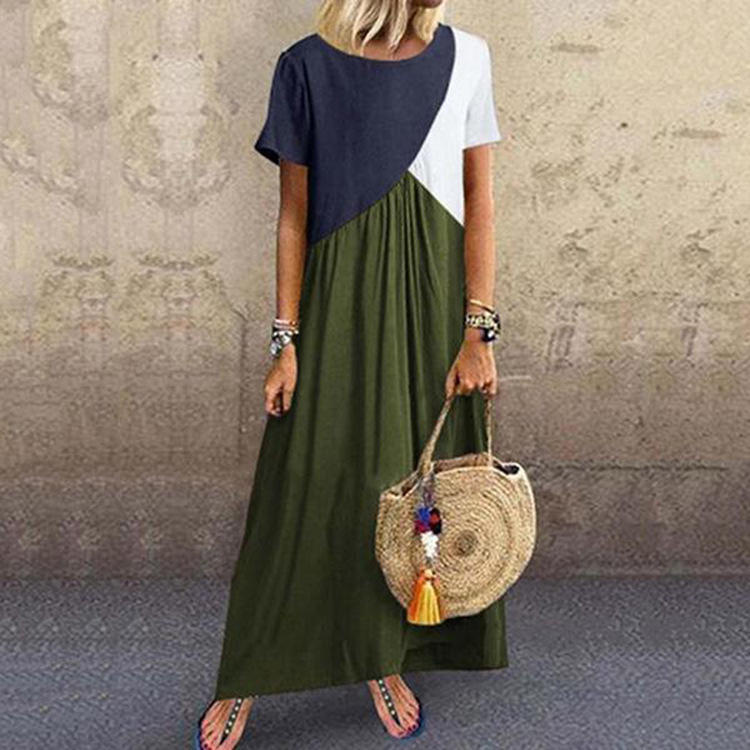 Wholesale Oem 2020 Summer Cotton Fabric Ladies Casual Women Dress Elegant Long Maxi Dresses Clothes