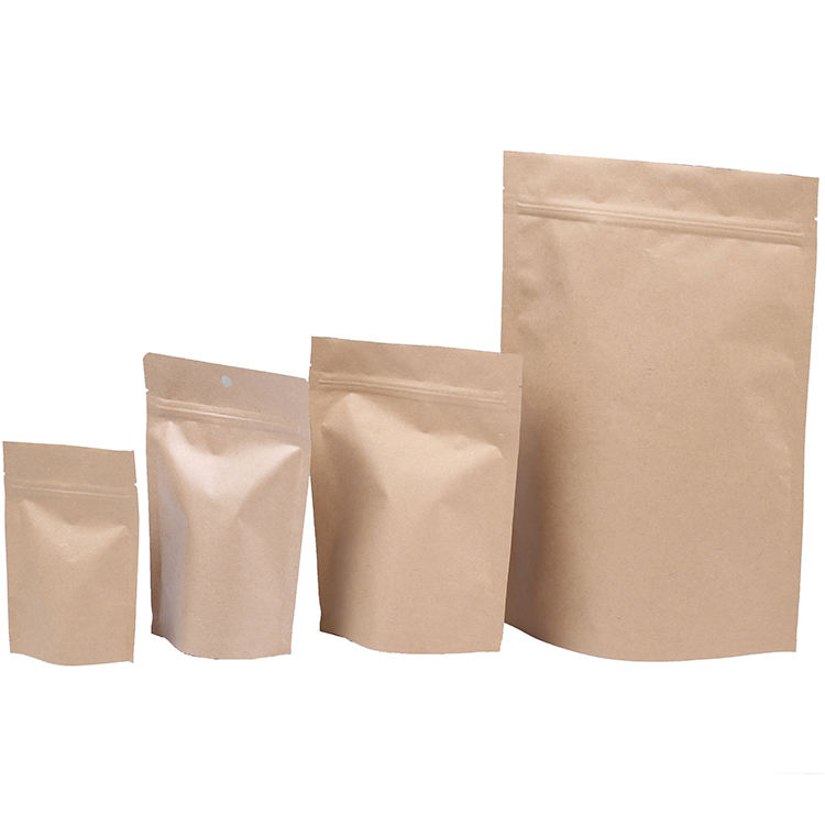 Doypack Ziplock Brown Kraft Craft Paper Standing Up Pouches Food Packaging Zipper Bags With Tear Notches