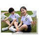 Woven patch logo kids white colours school uniforms design with pictures