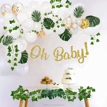 Greenery Baby Shower Decoration Neutral with Balloon Garland, Oh Baby Banner, Leaf Garland for party Backdrop Theme