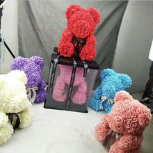Best Gift 19 Colors 40cm PE Artificial Flower Rose Teddy Bear for Valentine
