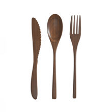 Portable Wooden Biodegradable Utensils Reusable Wooden Cutlery Set for Travel