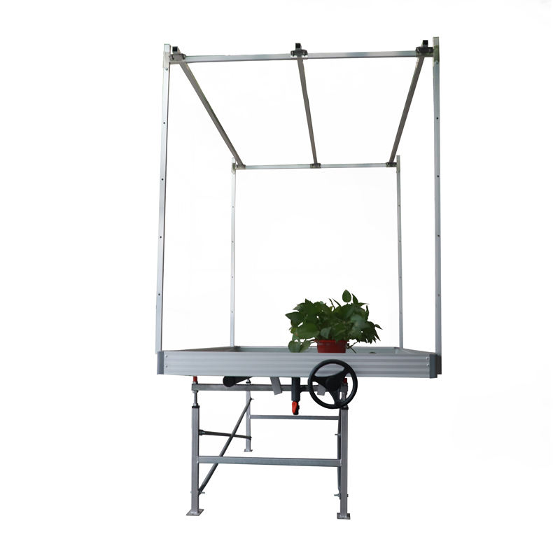 Low cost agriculture rolling greenhouse bench hydroponic rolling table flood tray for farm