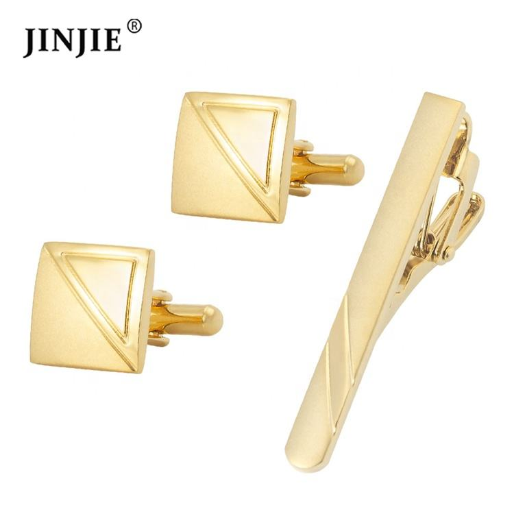 Hot selling stock metal brass silver and gold cuff links and tie clip set