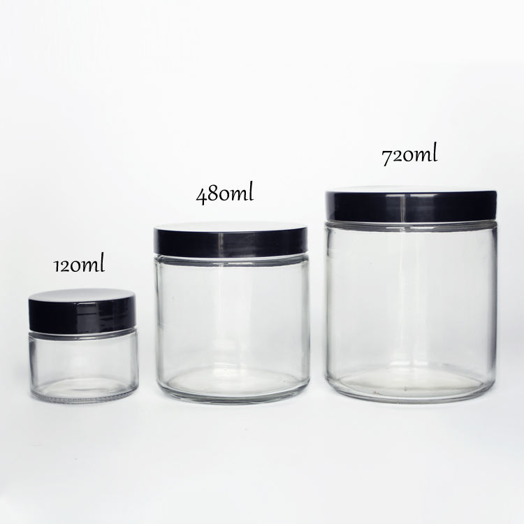 Eco Friendly Straight Side 2oz 4oz 8oz 12oz 16oz Clear Round Glass Jars Container envases de vidrio