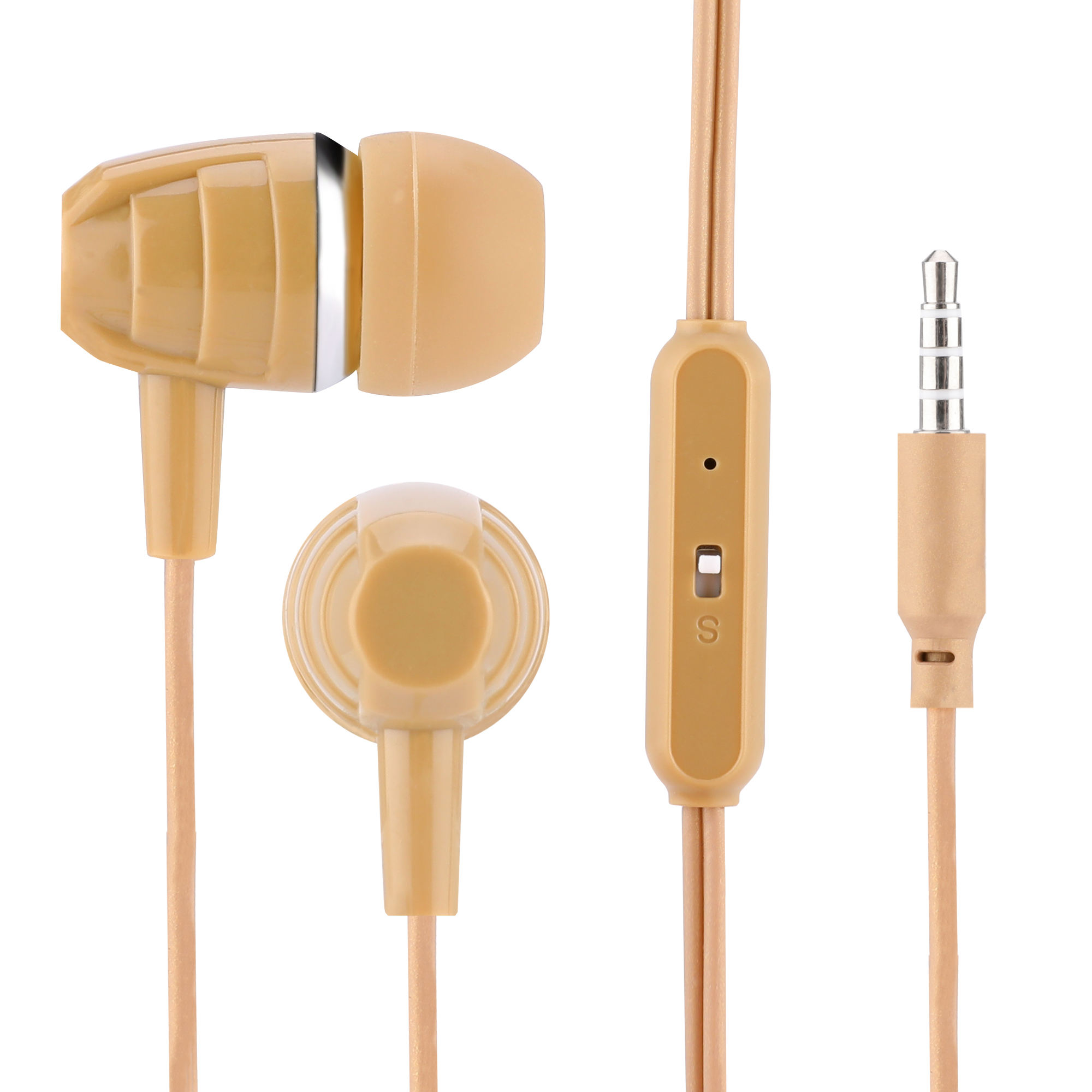 Wholesale oem round chord super sound quality metal wired stereo headphone earphone earbuds