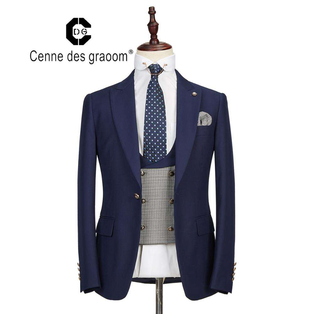 Mens Suits 3 Piece Slim Fit Wedding NAVY Business Dinner Suit for Men Cenne des graoom Lapel Blazer Waistcoat Trousers