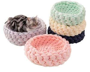 100% Natural Luxury Crochet Arm Knit Giant Chunky Cotton Tube Cave Pet Dog Cat Bed