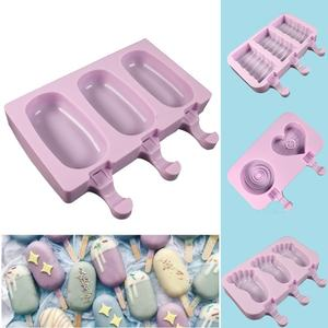 New Silicone Ice Cream Mold Popsicle Mold DIY Homemade Cartoon Ice Cream Popsicle Ice Maker Mold with Lid HG-0910