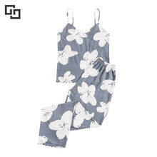 Wholesale Floral Printed Summer Bamboo Pajamas Women Cami Top and Pants Loungewear