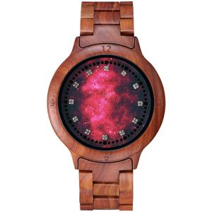 shifenmei S5609 natural wood wristwatch led digital wood watch red sandal wood watch