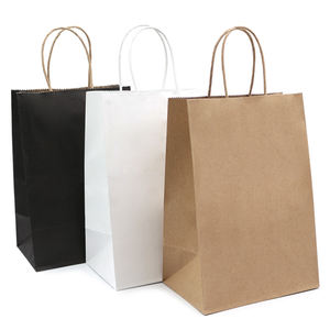 Bianco E Marrone di Carta Kraft Contorto Maniglia Shopping Bag Carrier Con Logo Stampato