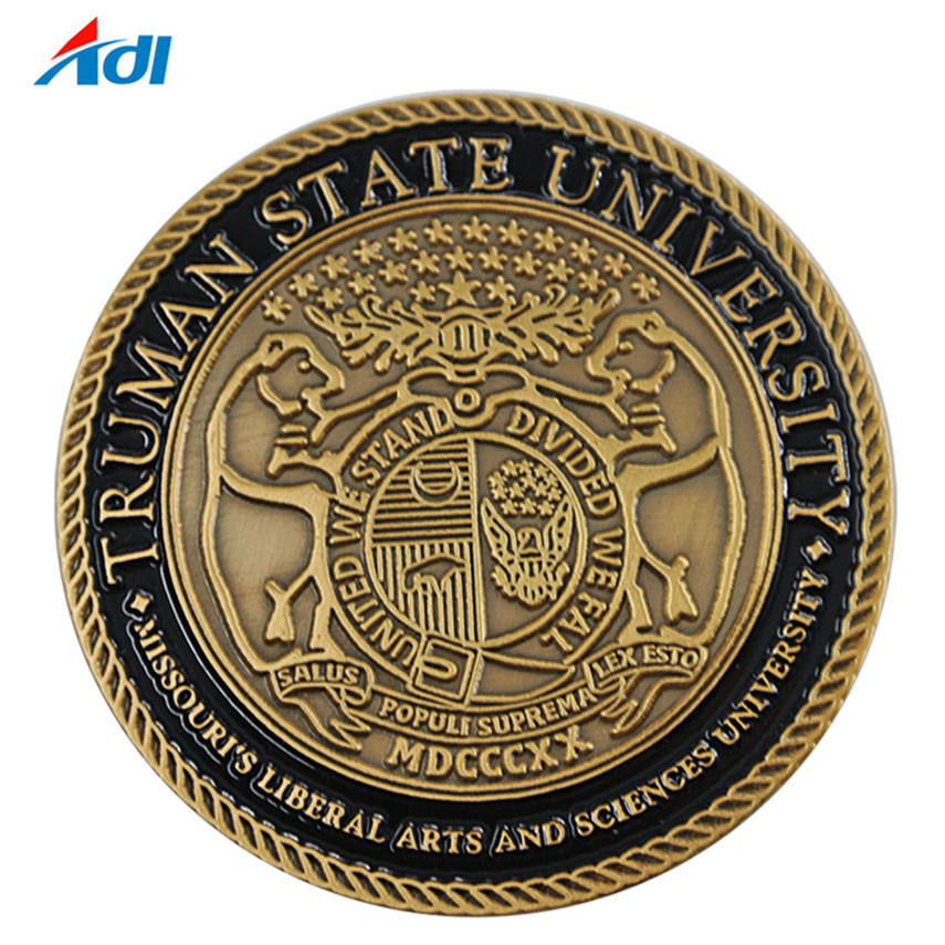 Wholesale factory custom souvenir embossed metal silver gold antique challenge coin