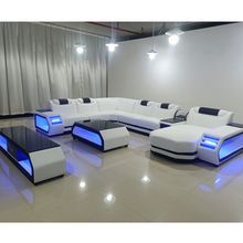 Top Grain Genuine Leather Sofa Super Modern Style LED Lamps Living Room Sofa Set Sectional l shape Sofa Set Recliner