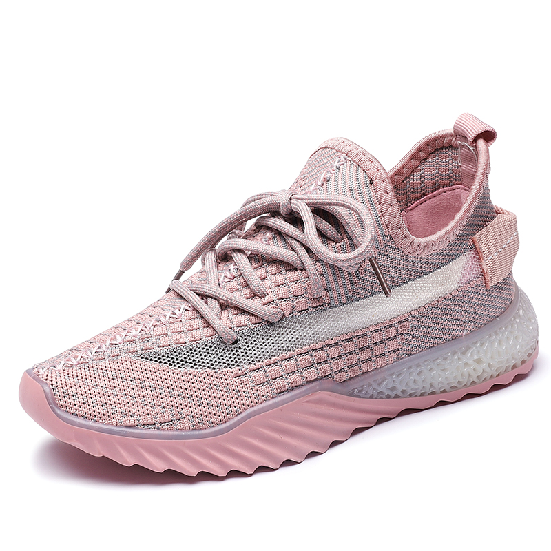 cheap fashion breathable flying knitted casual women sport shoes