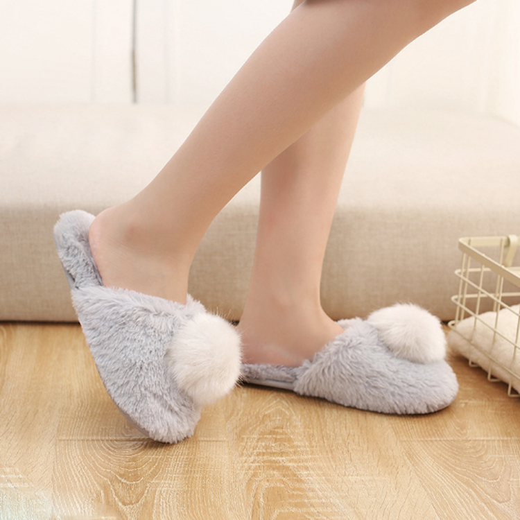 One-Stop Service [ Slippers Shoes ] Slip On Slippers Women Ladies Fluffy House Pom Pom Faux Fur Slip On Memory Foam Indoor Slippers Cosy Non Slip Winter Flat Shoes