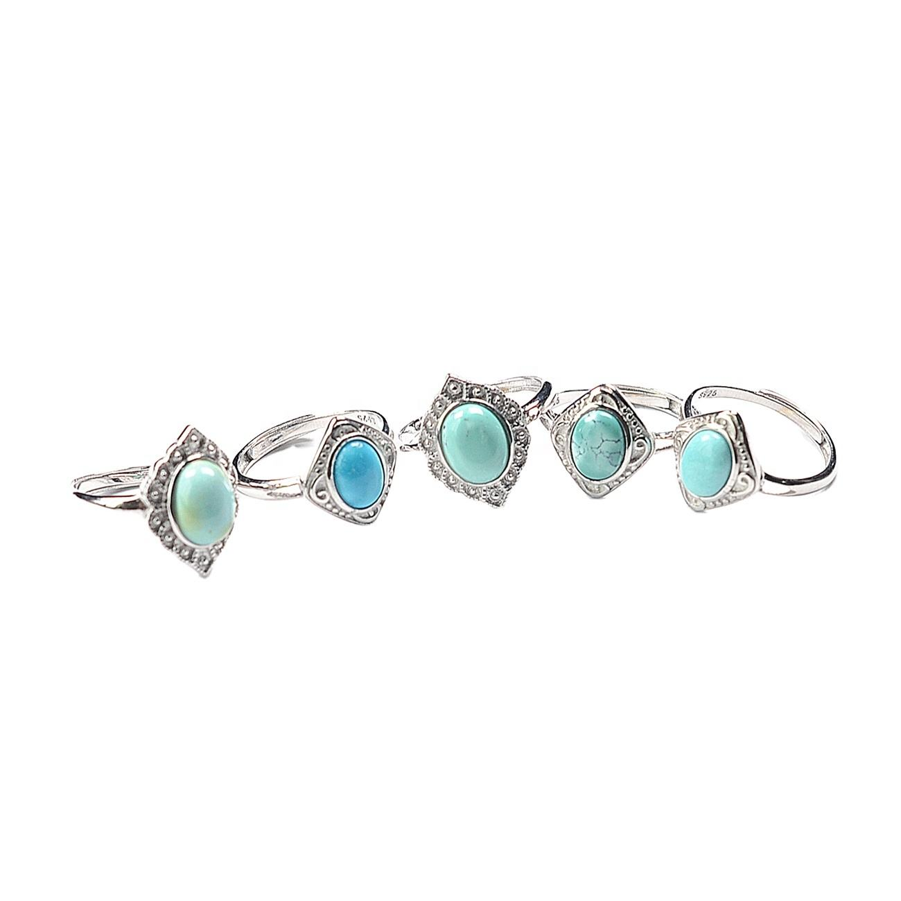 new wholesale simple ladies girls gift fashion 925 Sterling Silver natural gemstone jewelry turquoise Resizable ring