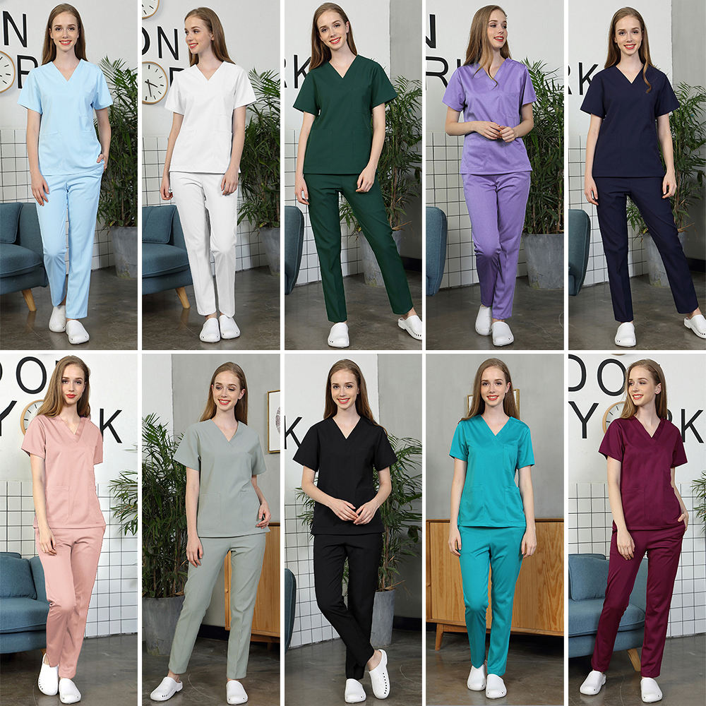 Pet grooming working clothes Medical uniforms Operating room doctor nurse work wear spa uniform womens scrub sets tops+pants new