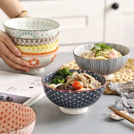 New 6 inch porcelain fruit salad bowl customized printed japanese kitchen serving cereal noodle ramen ceramic bowl set