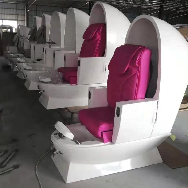 Wholesale Cheap Price Luxury Hot Pink Egg Shape Massage Beauty Furniture Pedicure Chair Spa Chair With Bowl