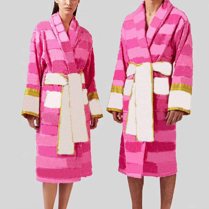 Designer Vintage Style Fashion Letter Printed Breathable Home Casual Pink Robe Sleepwear