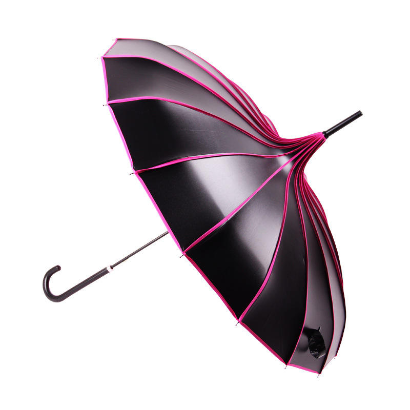 wholesale long handle straight custom logo print uv protection pagoda parasol umbrella for lady
