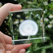 MH-ZZ50  3d Dandelion Laser Cube Paperweight