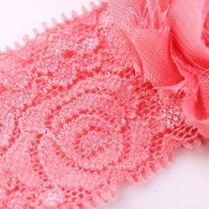 2019 Wish hot selling rose lace stretch feather chiffon newborn summer baby accessories girl headband