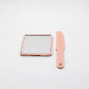 Small square simple hand held portable makeup mirror with comb