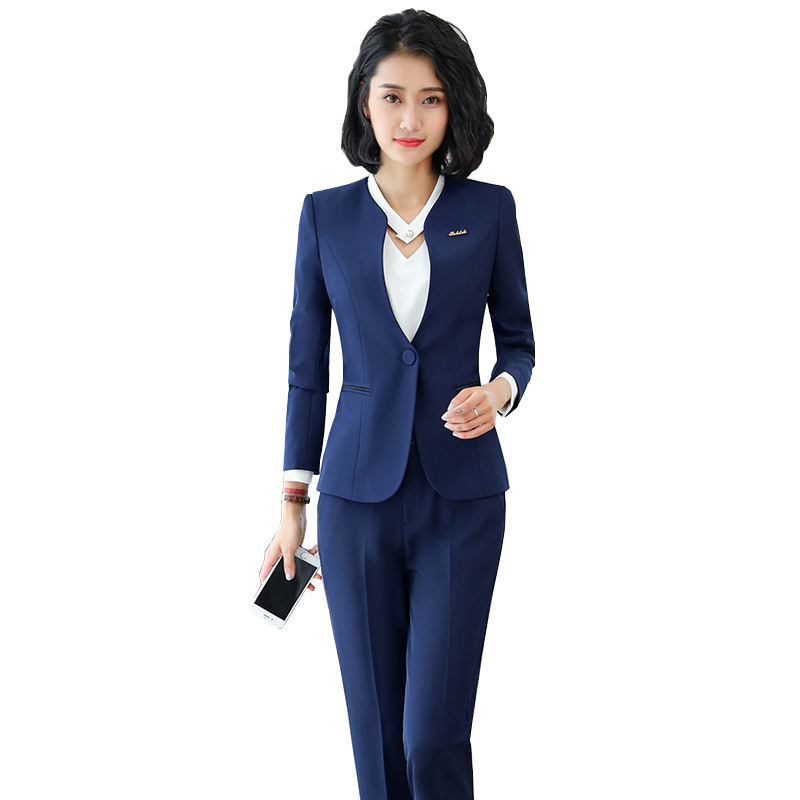 China Factory Direct Sell 2 Piece Set Professional work Pant suit formal long sleeve Keep Slim blazer for office lady women wear