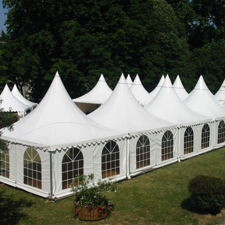 manual assembly 5*5m outdoor white PVC pipe gazebo canopy high peak tents
