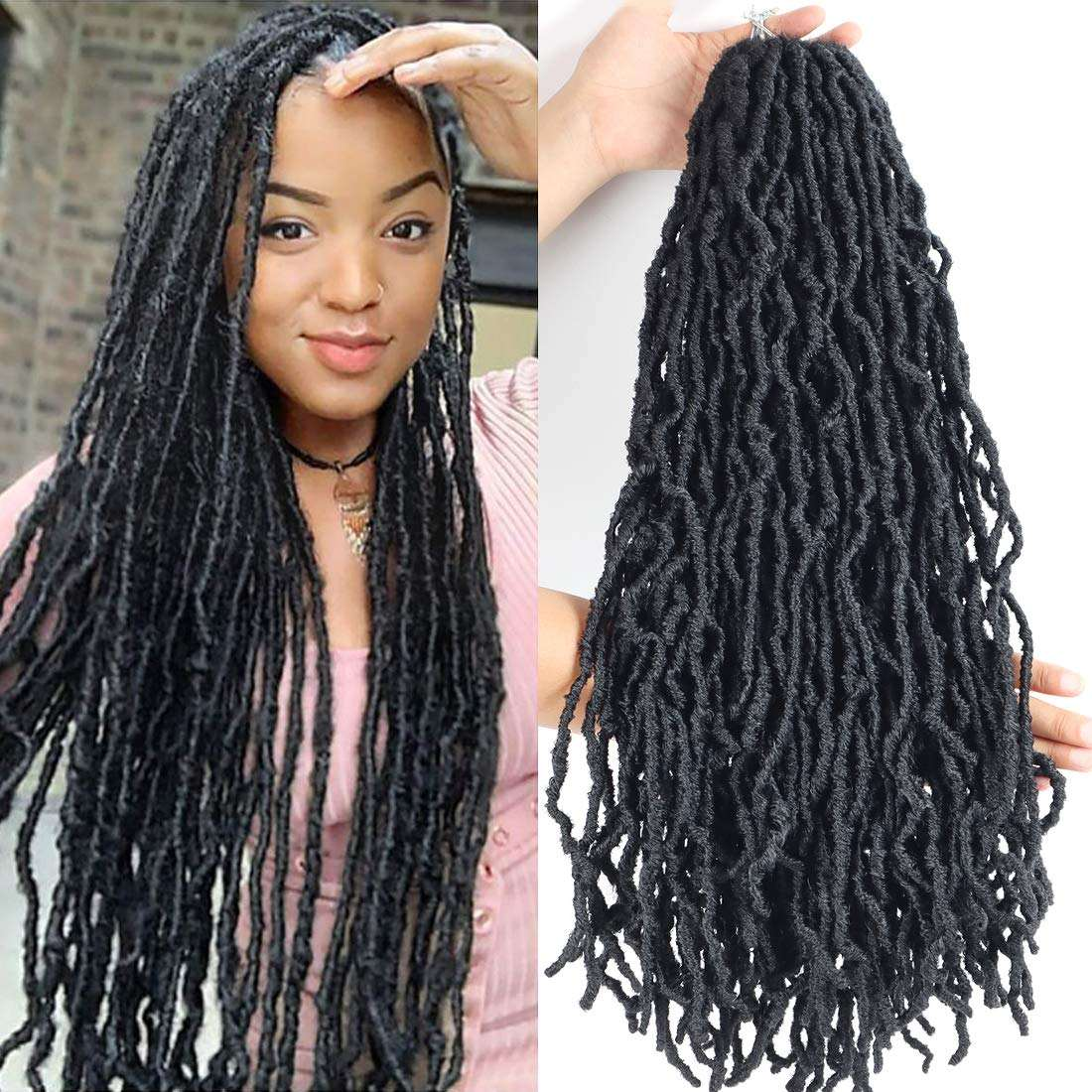 Wholesale 14 18 24 36 inch Synthetic Crochet Braid Hair Extensions Ombre Faux locs Hair Pre Looped Crochet Hair
