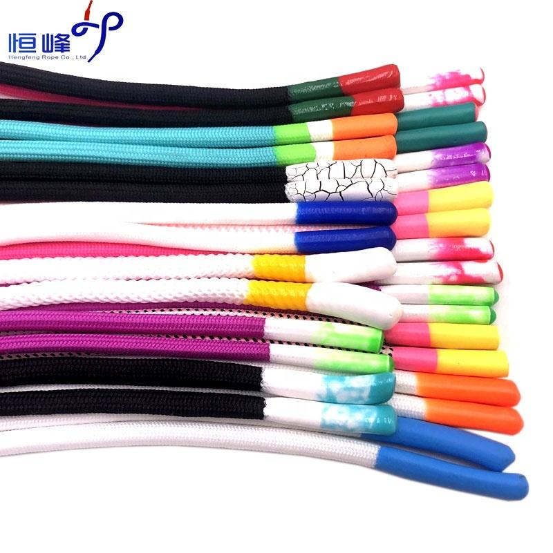 Fashion Polyester with silicone tips string garment cord silicone dipped Draw cords