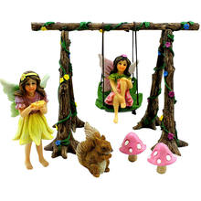 Fairy Garden Accessories with Miniature Garden Fairies Play on a Swing