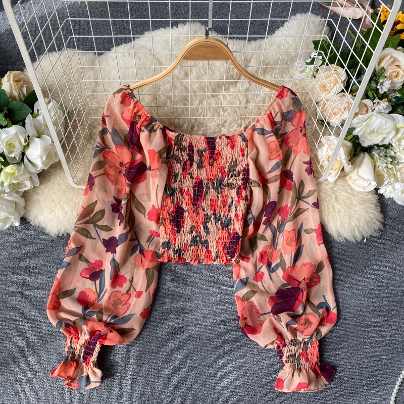TW863A 2020 Hot trend Fashion Puff Sleeve Flower Print Crop Top Chiffon Blouse Short Shirt Women Blouse