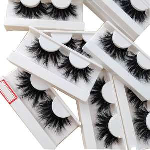 100% mink fur wholesale private label full strip extra long mink lashes 25mm eyelashes with custom box